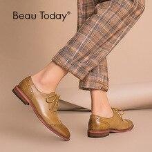 BeauToday Brogue chaussures femmes en cuir véritable bout rond bonne qualité en peau de mouton chaussures plates pour femme Wingtip chaussures à la main 21409