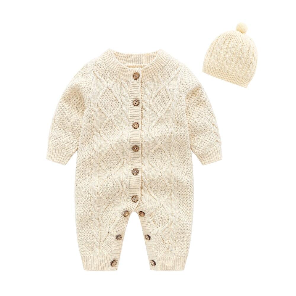 Одежда для новорожденных, бежевый детский вязаный комбинезон с шапкой, детский комбинезон, зимняя детская одежда