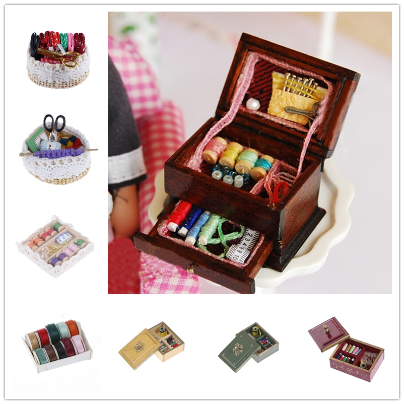 Hot Sale 1:12 Vintage Sewing Needlework Needle Kit Box Sewing Machine Dollhouse Miniature Decor