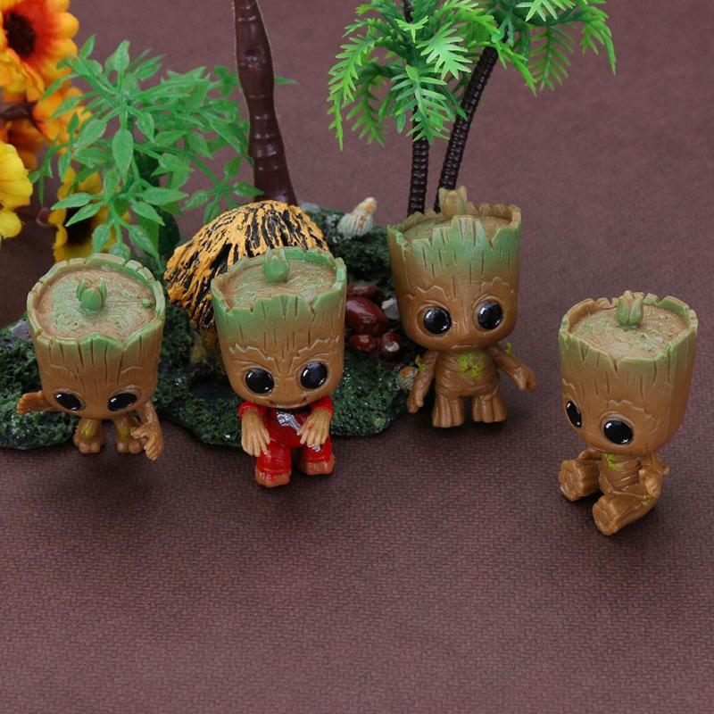 4 Uds Mini Baby Groot llaveros de juguete para niños bebé Treeman llavero colgante figuras de acción Decoración de mesa