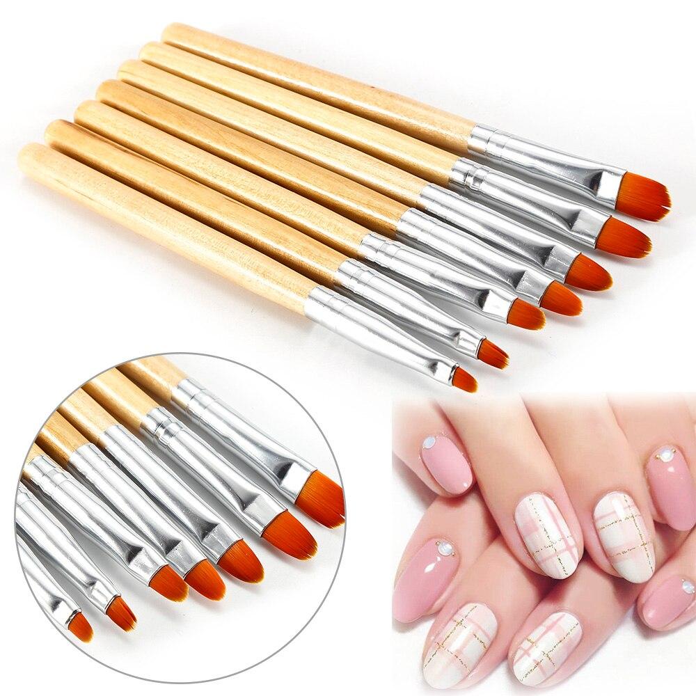 ELECOOL-pincel de madera para pintar, diseño de Gel UV para arte de uñas en 3D, lápiz para pintar, no corrosivo, para construir esmalte de uñas, 7 unidades por juego