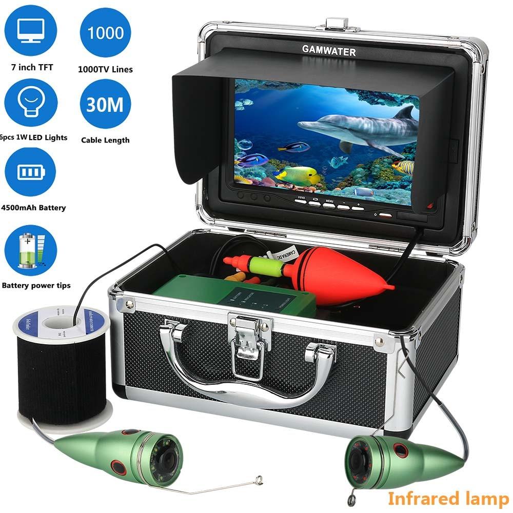 GAMWATER تحت الماء الصيد كاميرا فيديو عدة 1000tvl 6 واط الأشعة تحت الحمراء LED الأبيض LED مع 7 بوصة مراقب الألوان 10 متر 15 متر 20 متر 30 متر