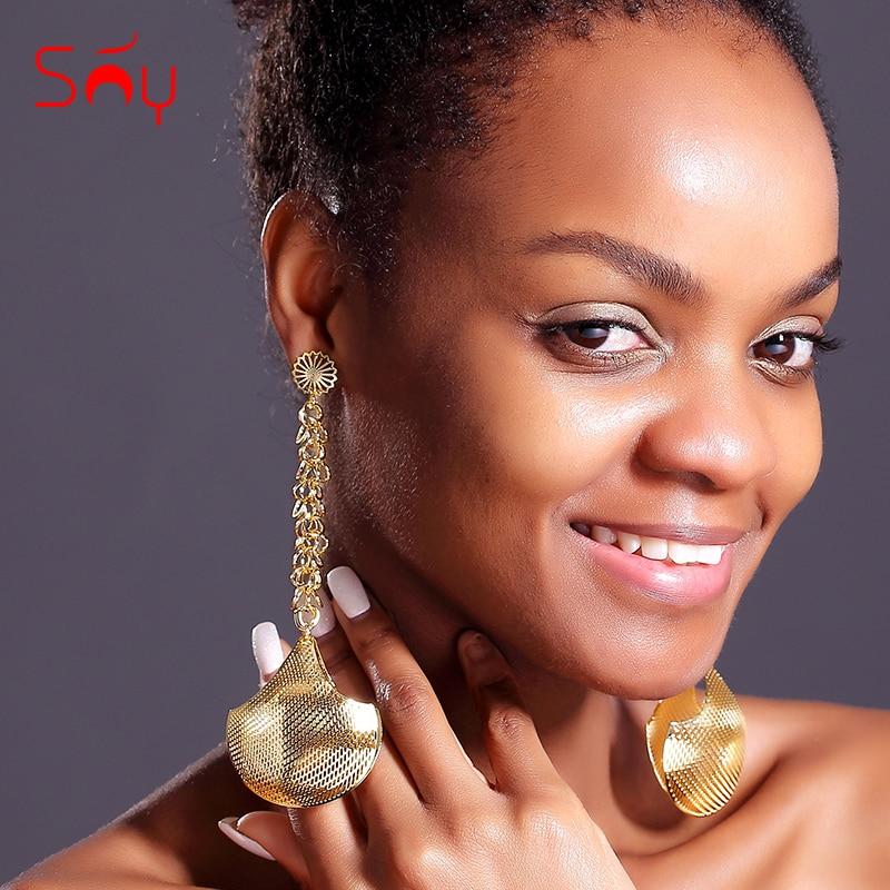 Sunny Jewelry Statement Big Earrings Long Drop Dangle Earrings For Women Ball Earrings Trendy Jewelry For Party Birthday Gifts