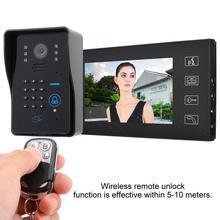 7in Video Door Phone Wired Intercom Doorbell FRID ID Card Password Remote Unlock 1V2