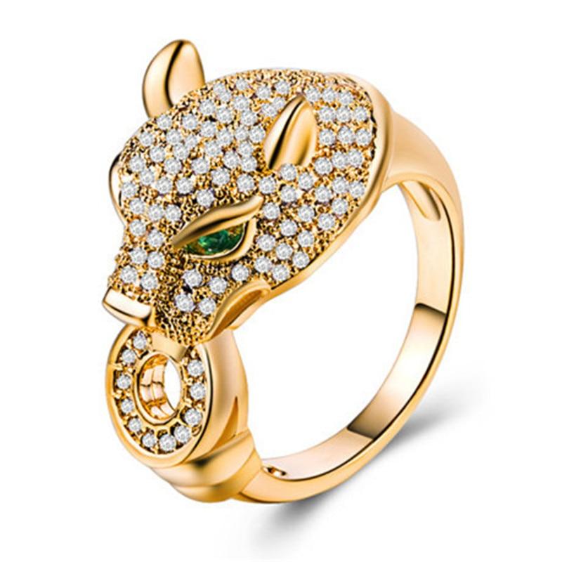 Cabeza de leopardo anillos de lujo boda compromiso aniversario dedos anillos alta calidad oro rosa plata claro CZ Venta caliente