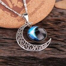 Fait à la main croissant de lune pierre de lune rétro breloque cristal collier galaxie cosmique étoile univers pendentif à breloque bijoux pour cadeau