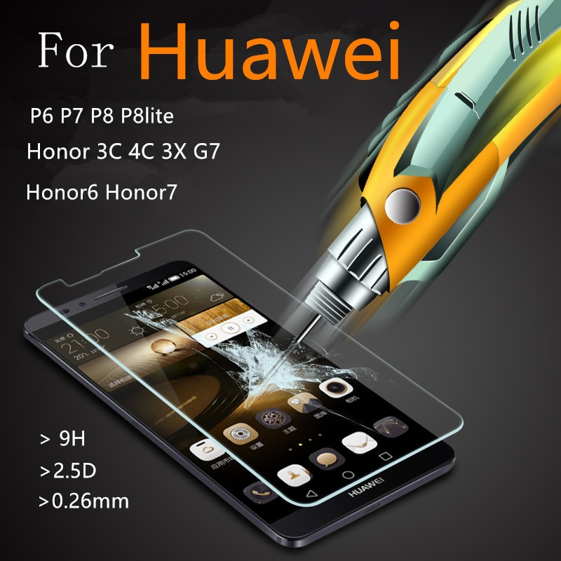 2016 de templado de vidrio de película a prueba de explosiones Protector de pantalla para Huawei P6 P7 P8 lite p9 Honor 6 7 3C 4C mate 8 Ascend G7 caso