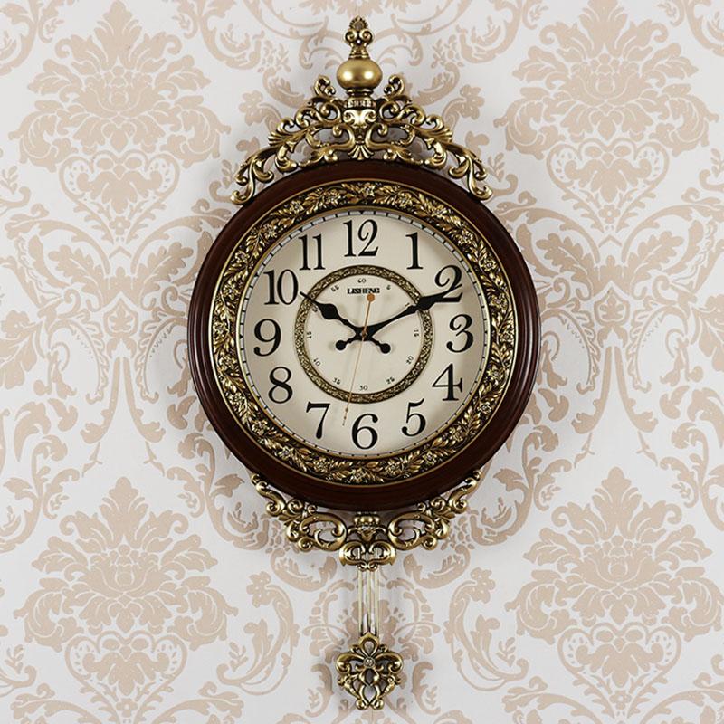 Relógios de casa Sala de estar Mudo Relógio de Parede Personalidade Moda Retro Atmosfera Relógio Tendência Relógios de Parede Criativo Europeu