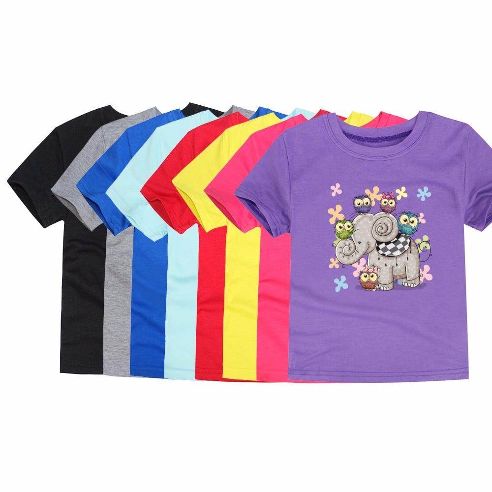Boy Girls Short Sleeve T-shirt Baby Cartoon Elephant Owl Printing Tee Tops Children Cotton Clothes For Summer Children Tops