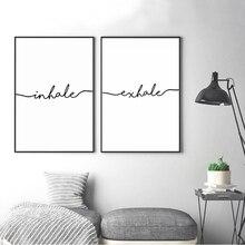 Minimalistyczny czarny biały wydech wdychać litery obrazy na płótnie abstrakcyjny nordycki obraz plakat obraz na ścianę obraz dziecięcy Home Decor