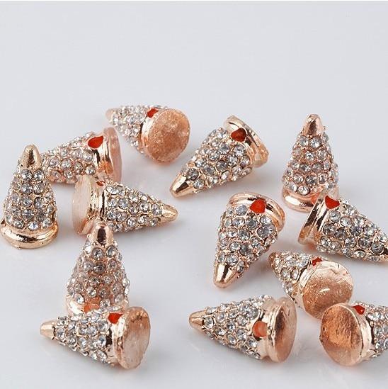 Оптовая продажа розовое золото Тон Спайк бусины с кристаллом паве со стразами хип-хоп твердый металлический браслет соединитель Шарм резул...