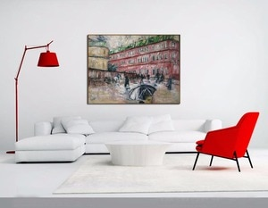 Handmade Abstract Red Houses in Moscow Street Landscape Oil Painting on Canvas Home Decorative Hand Painted Wall Artwork Picture
