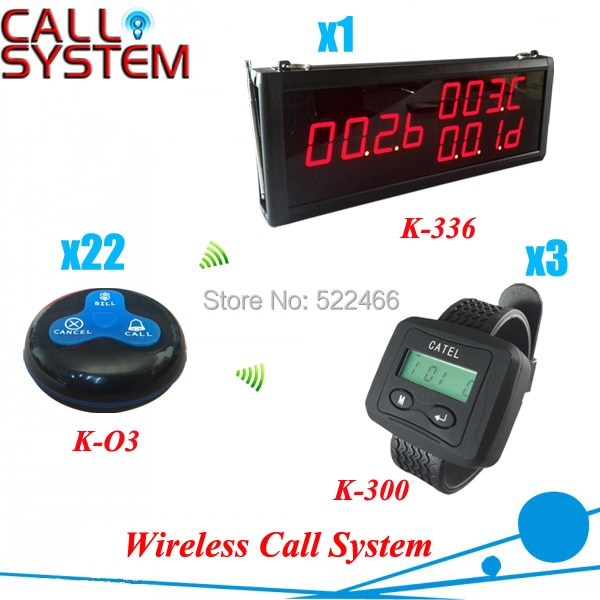 Hot sale restaurant Bell Calling System, including 1 number display, 3 watch pagers and 22 table buttons, shipping free