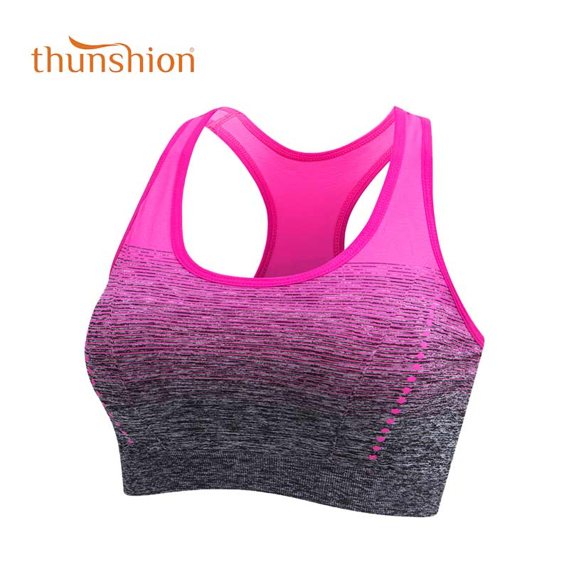 THUNSHION Sports Bra High Stretch Breathable Top Fitness Women Padded for Running Yoga Gym Seamless