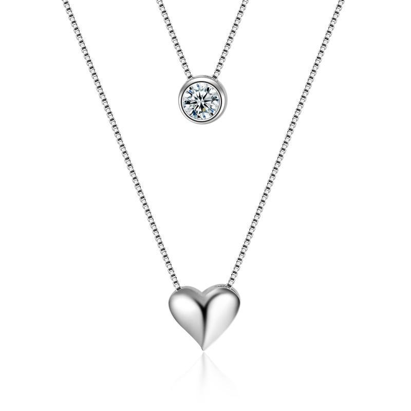Горячая Распродажа 2017, новая мода, блестящий циркон, сердце, дизайн, серебро 925 пробы, короткая цепочка, ожерелья для женщин, ювелирные издели...