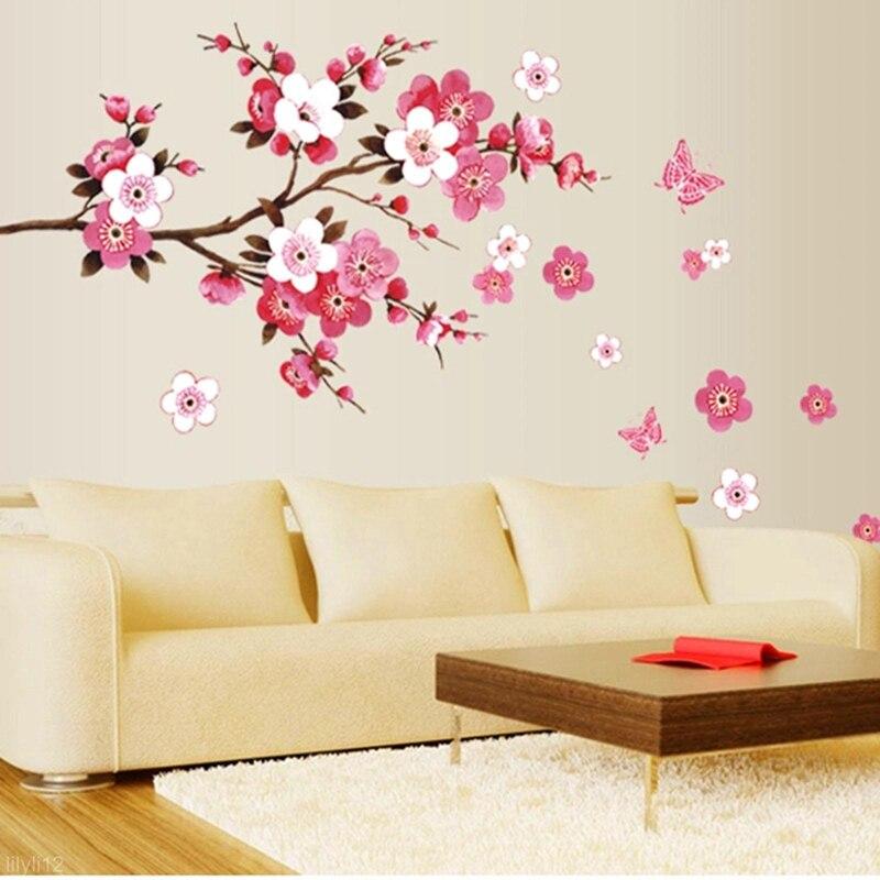 Heißer verkauf Großhandel 3D Zimmer Pfirsich Blossom Blume Schmetterling Wand Aufkleber Vinyl Kunst Aufkleber Dekor Wandbild