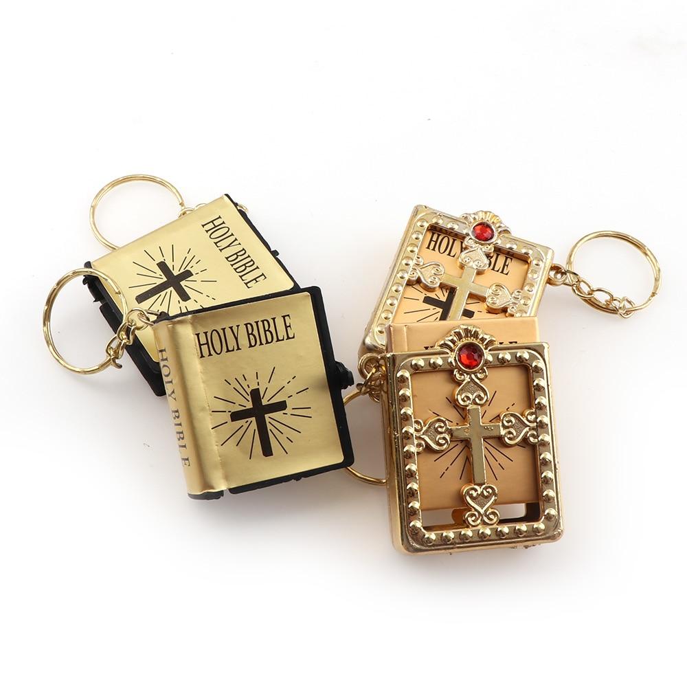 Two Models English Version Mini Religious Christian HOLY Bible Keychain Key Holder Women Bag Charm Gift Souvenirs