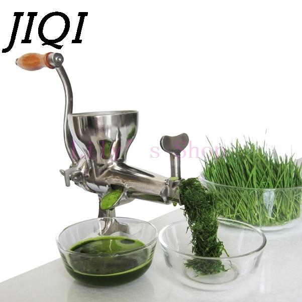 Ручная Соковыжималка JIQI, Соковыжималка из нержавеющей стали, шнек, медленная соковыжималка для фруктов, травы, овощей, апельсинового сока, п...
