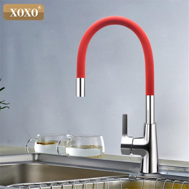 XOXO 360 Neue Ankunft 7-farbe Silica Gel Nase Jede Richtung Rotation Küche Wasserhahn Kalt-und Warmwasser Mischer 1301R