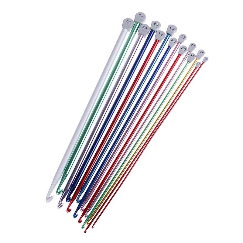 Gancho de agujas Multicolor de 2,5mm a 11 mm con ganchillo afgano tunecino, gancho de agujas de punto de aluminio Multicolor, gancho de ganchillo Multicolor de 14 tamaños