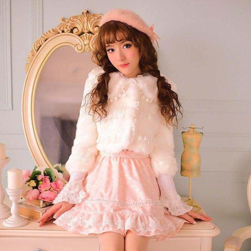 Princess sweet lolita coat Candy rain Cute lapel warm white jacket pom bow lace patchwork flocking Faux Fur Short coat CR30