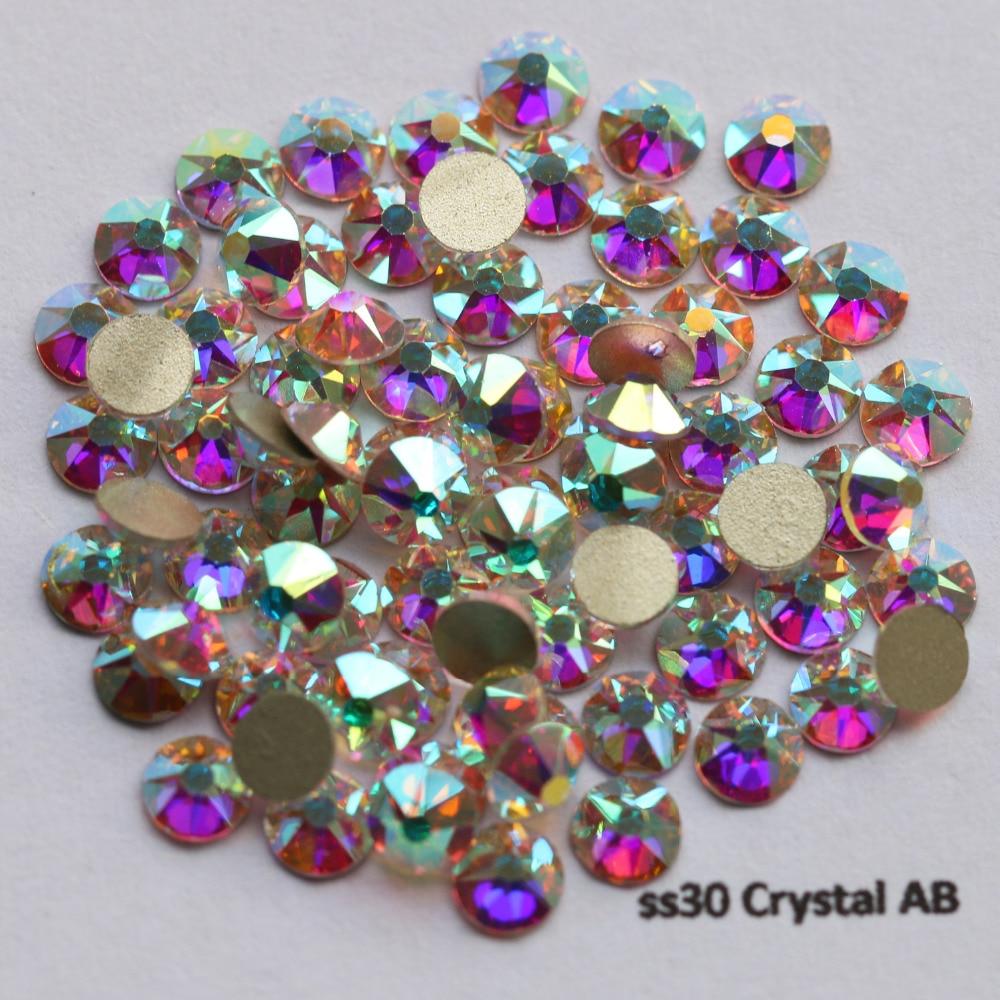 288 teile/los, AAA Neue Facted (8 + 8 big small) ss30 (6,3-6,5mm) kristall AB Nail art Kleber Auf Nicht hotfix Rhinestones