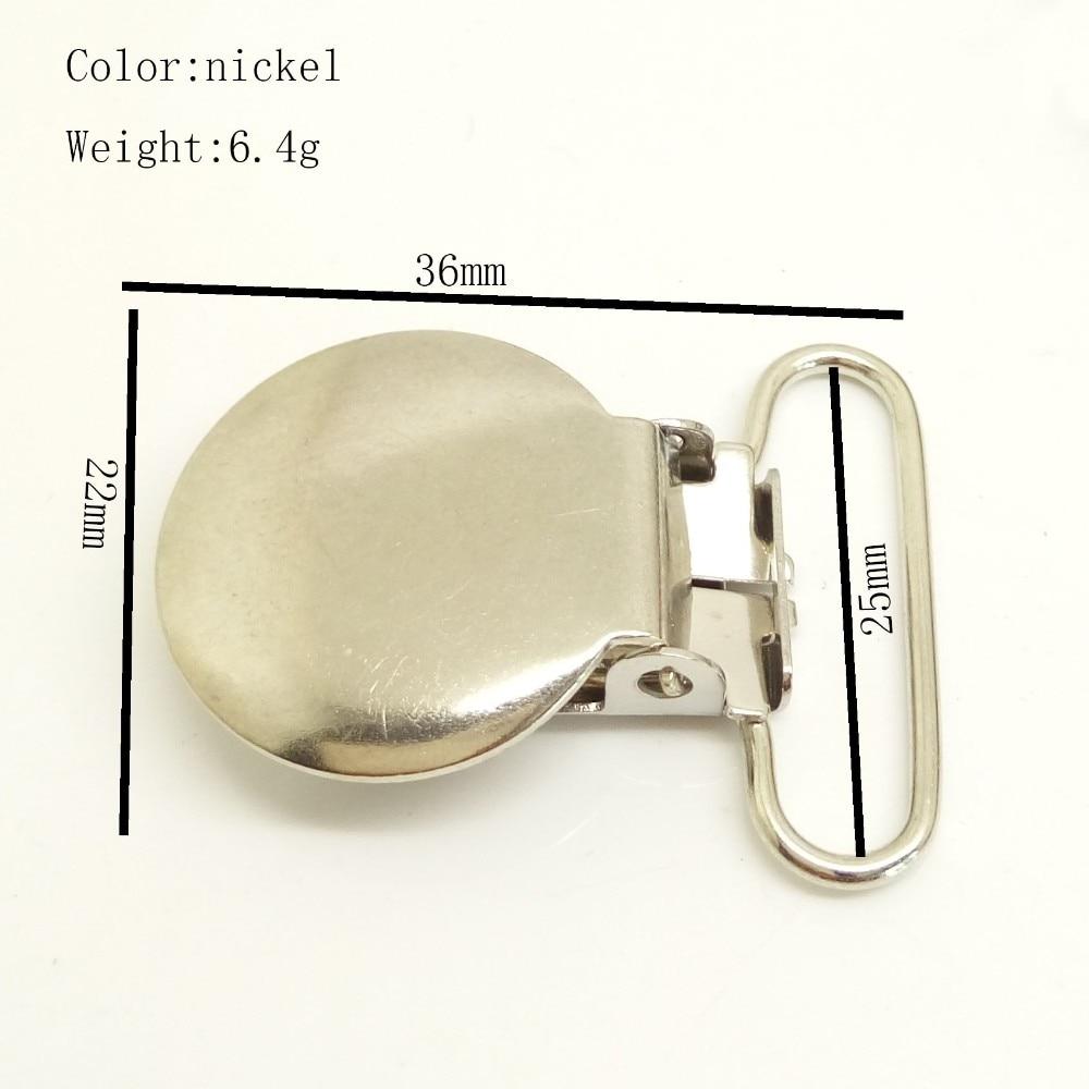 500 pçs/lote níquel hardware 25mm nova suspender suspender clipes