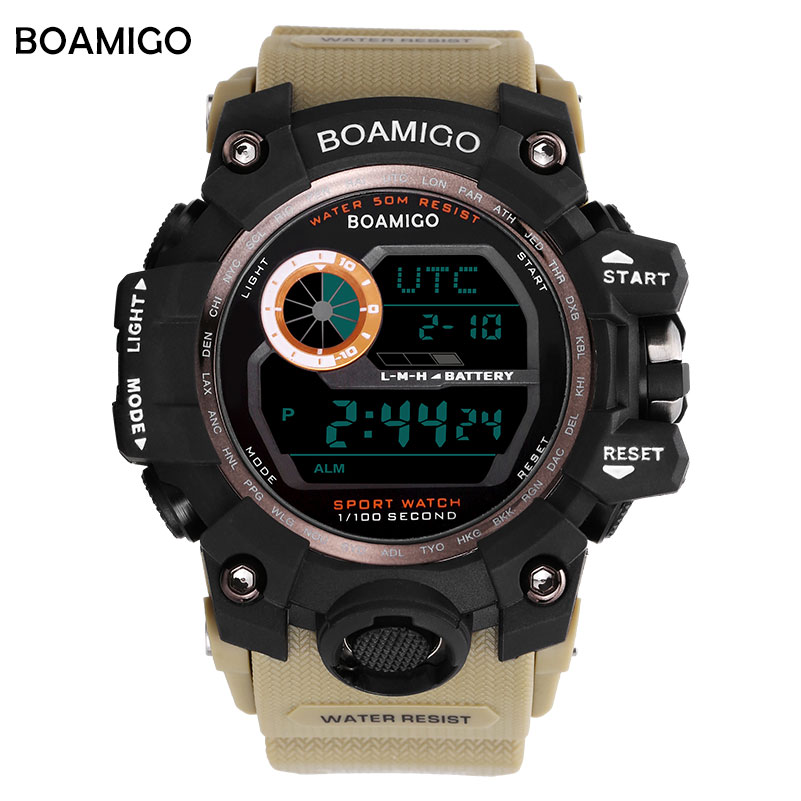 Reloj digital deportivo militar marca BOAMIGO para hombre, reloj de pulsera resistente al agua con led para hombre, modelo UTC DST time