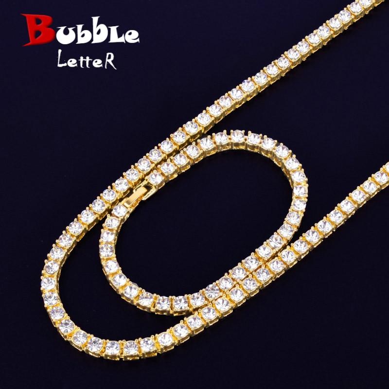 "1 Row 5mm Tennis Necklace & Bracelet Set Gold Color Rhinestone Chain Choker Mens Hip hop Street Rock Jewelry 16"" 18"""