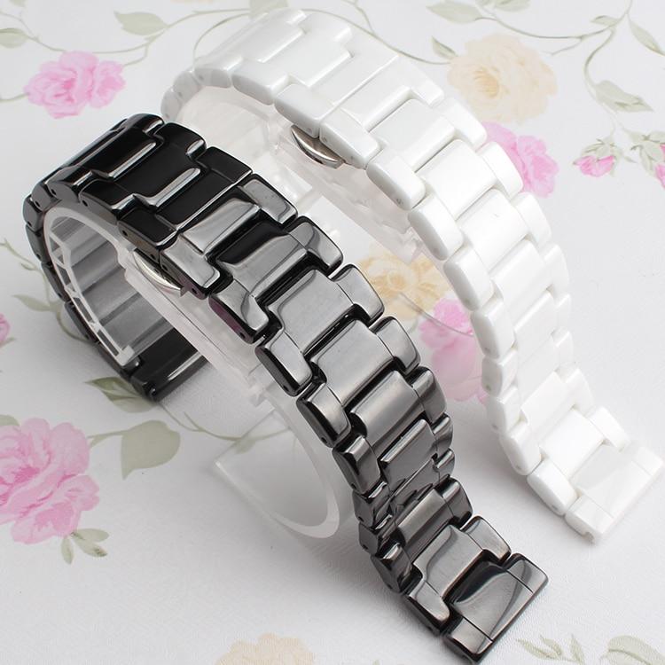 Reloj de cerámica de alta calidad de 14mm 16mm 18mm 20mm 22mm blanco negro para relojes inteligentes para hombre accesorios de banda de reloj de diamantes