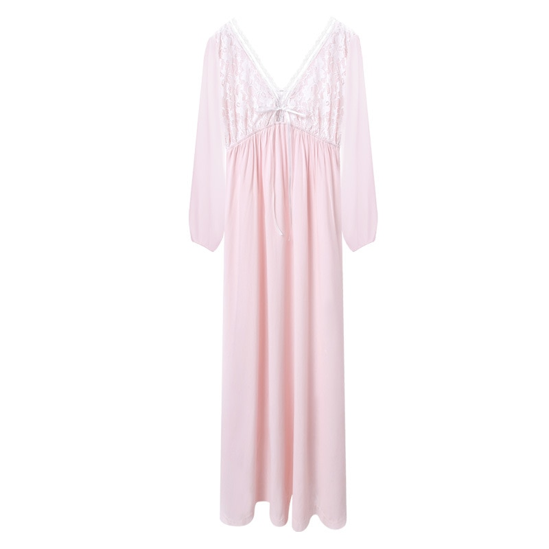 Sexy long-sleeved cotton nightdress female long skirt lace sweet princess loose home service pajamas spring and autumn enlarge