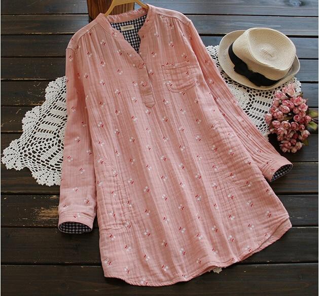Blusa camisa vintage de manga larga rústica agradable a la piel hilo de algodón dulce cereza 0023