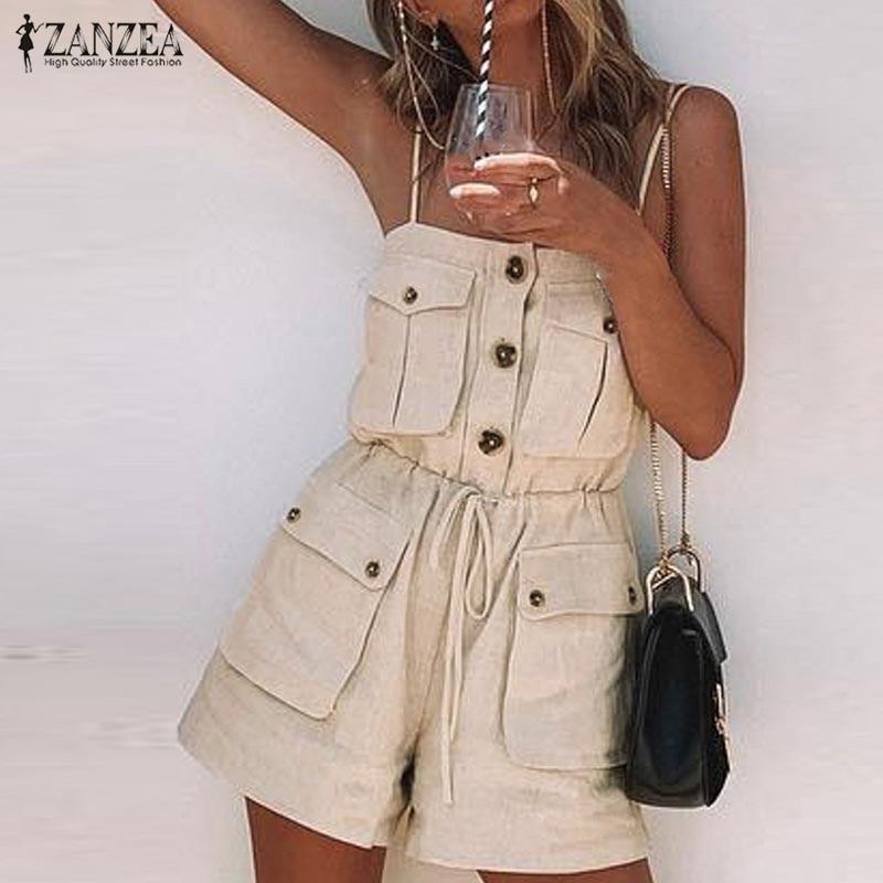 2020 ZANZEA militaire salopette femmes combinaisons Vintage multi-poches barboteuses femme Spaghetti sangle combishorts cordon pantalon