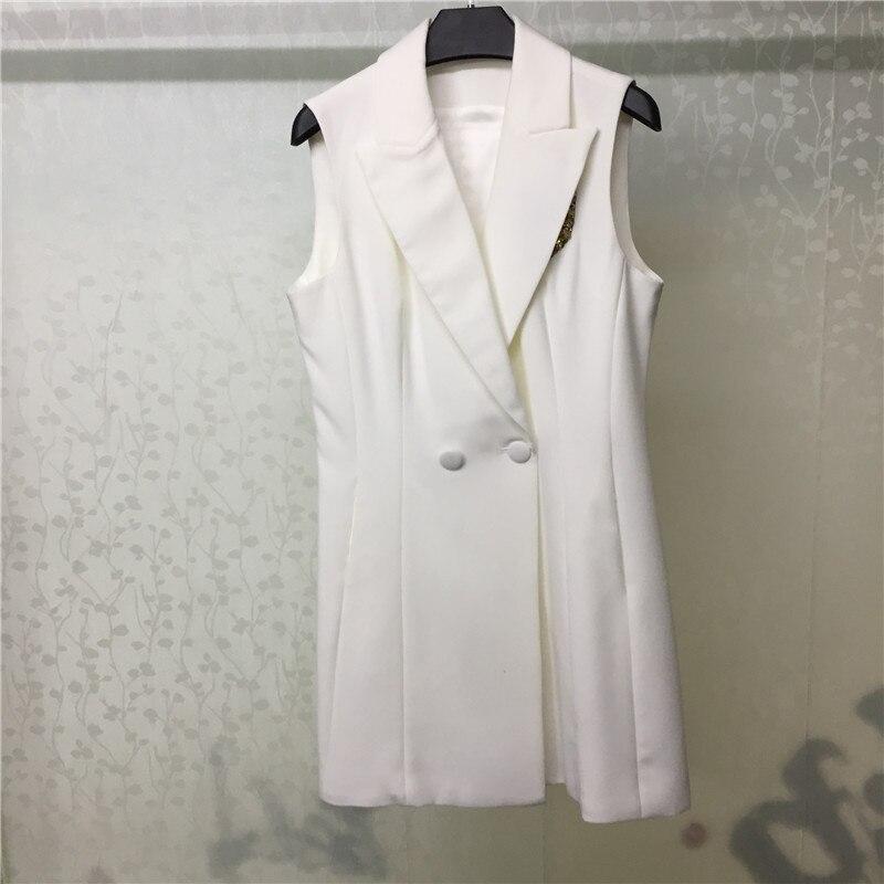 Vestido blanco de verano para mujer vestido elegante sin mangas con abalorios 2018 Mini vestido de moda para mujer