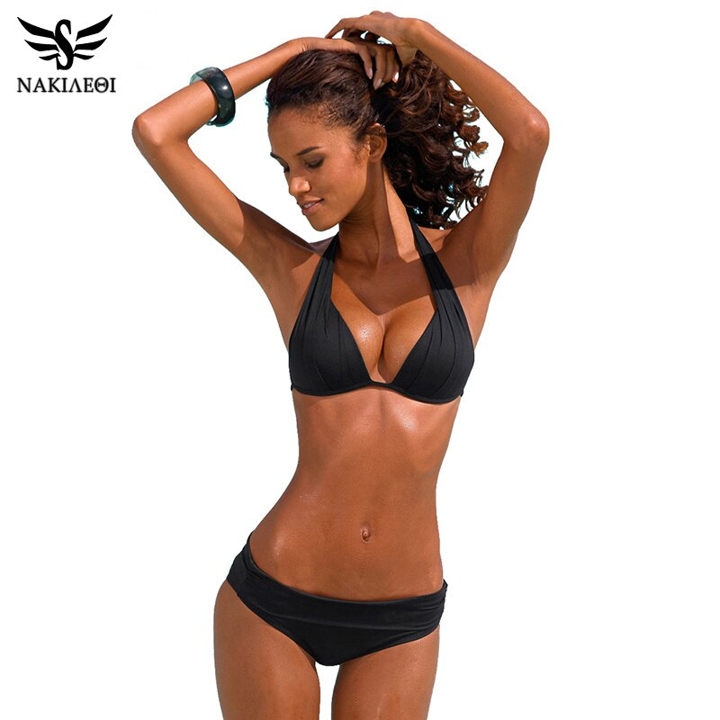 NAKIAEOI 2017 New Sexy Bikinis Women Swimsuit Push Up Swimwear Plus Size Brazilian Bikini Set Halter Retro Beach Bathing Suits
