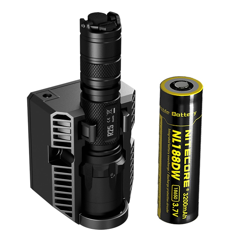 Envío Gratis NITECORE R25 linterna táctica LED antorcha rendimiento inigualable Carga inteligente Dock + 18650 batería recargable