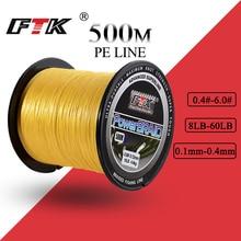 FTK 500M PE tressé ligne cordon de pêche 8-60LB 0.1-0.4mm 4 brins Multifilament pêche PE tressé fil 500M ligne de pêche