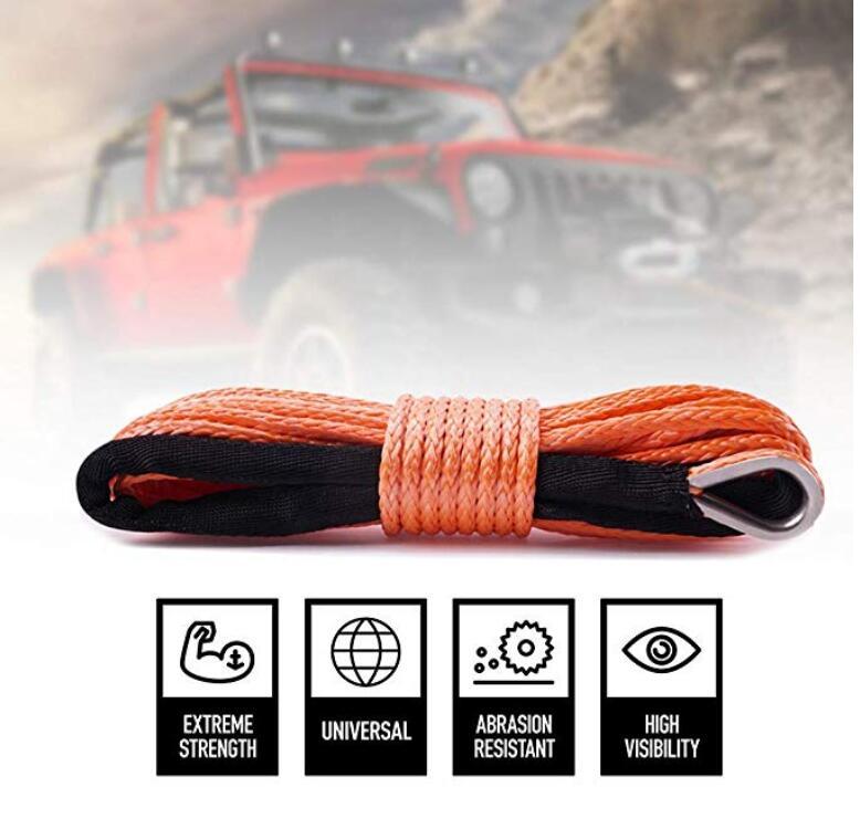 Frete grátis 5 MM x 25 M Laranja Linha off-road UHMWPE Corda Sintética Do Guincho Corda Corda Cabo De Reboque com Luva para ATV/UTV/SUV