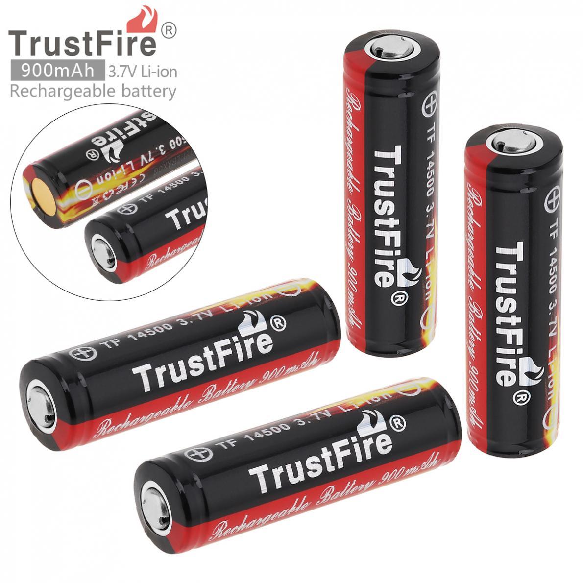 8 piezas, batería TrustFire 14500, 3,7 V, ICR14500, 900mAh (capacidad completa), baterías recargables de iones de litio de alta calidad