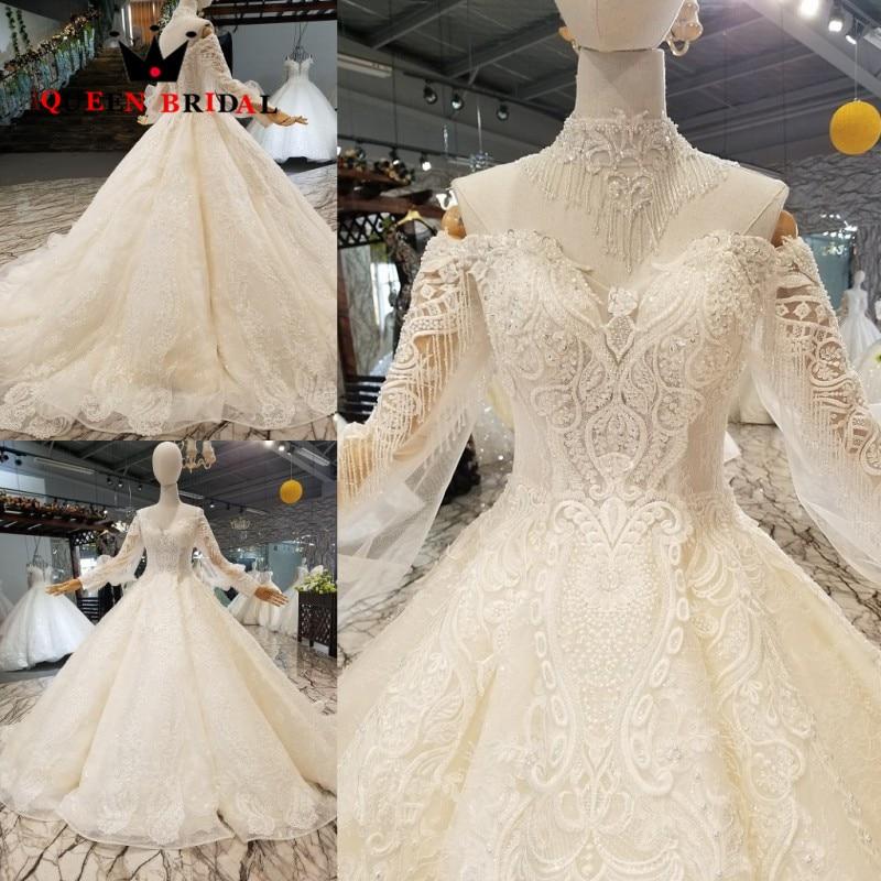 Real Sample 2020 Vestido De Noiva Custom Made Lace Beaded Elegant Wedding Dresses QUEEN BRIDAL Robe De Mariee WD166