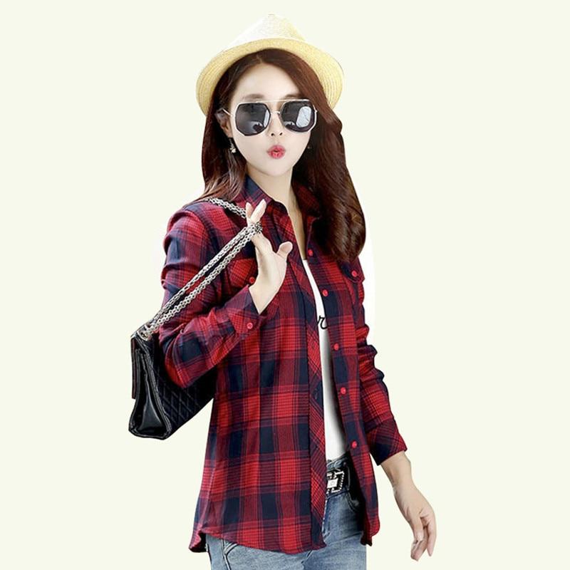 2018 otoño algodón Mujer camisa a cuadros mujer manga larga Tops M-XXL Turn-down Collar blusa de gran tamaño blusas Femininas de otoño