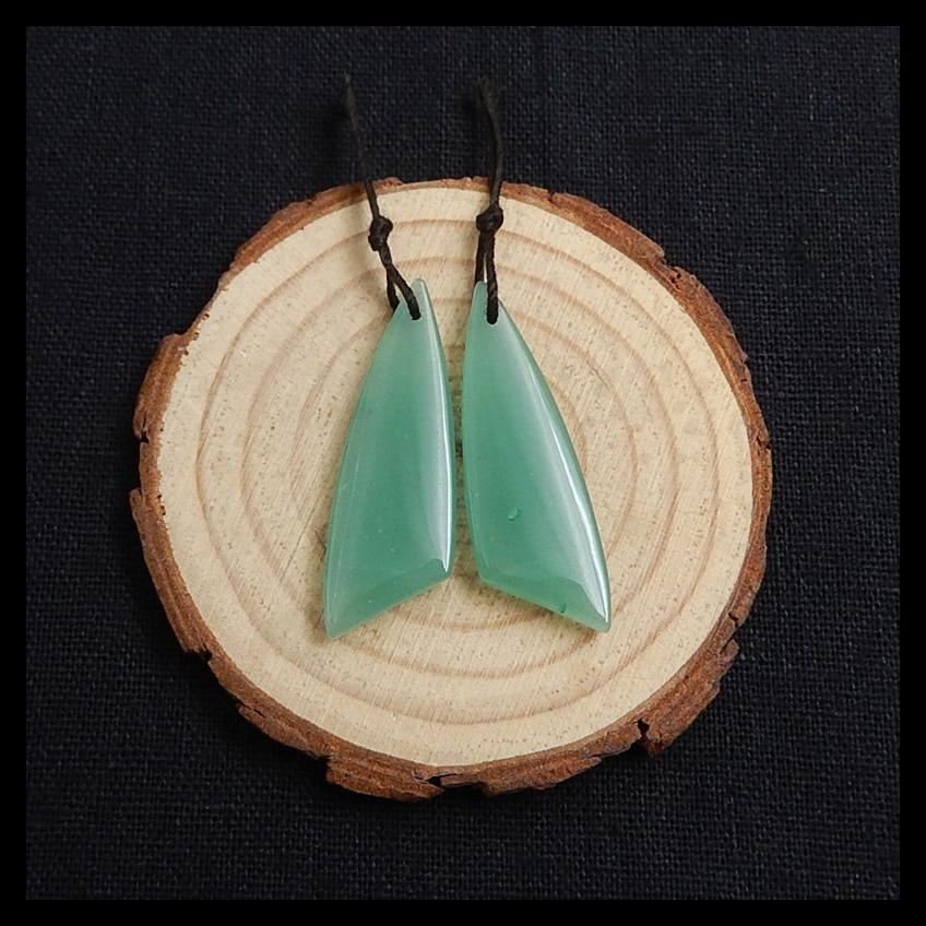 Spring Style Natural Green Aventurine Gemstone Beauty Earring Bead 40x13x4mm 6.5g