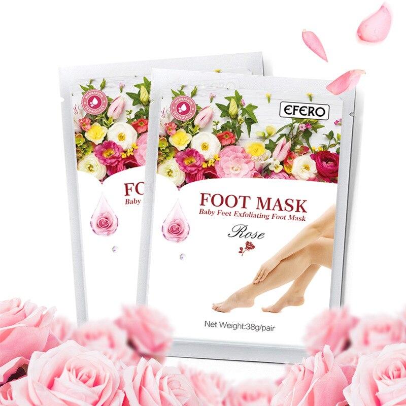 1 bolsa Rose Feet Mask exfoliante máscara de pie calcetines para pedicura Peeling producto para eliminar la piel muerta pies máscara Peeling Magic Skin Socks TSLM1