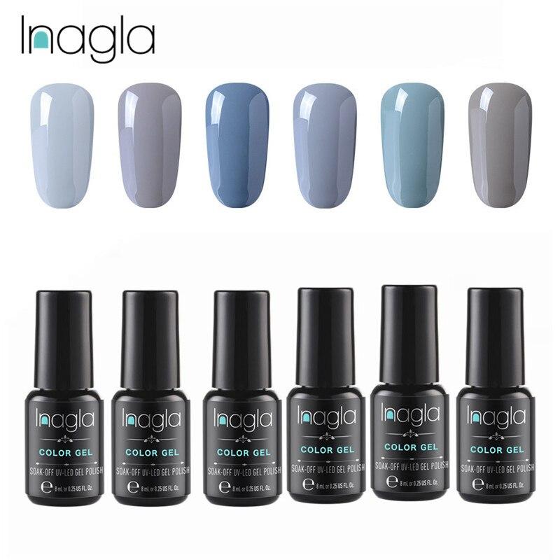 Inagla 6 pièces/ensemble 8ML Gel vernis à ongles gris UV LED Semi Permanent imbiber émail Gel vernis LED Gel UV vernis à ongles
