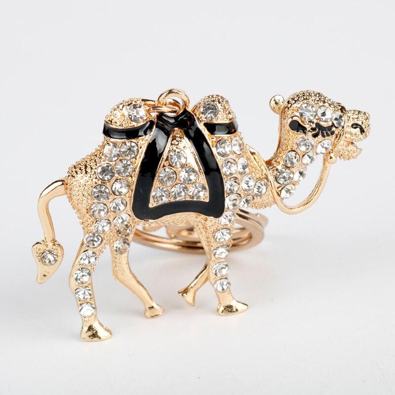 Новый брелок с кристаллом верблюжьей расцветки, брелок с животными для женщин и мужчин, брелок из сплава, Сумка с подвеской, автомобильный брелок с пряжкой, модная безделушка-5