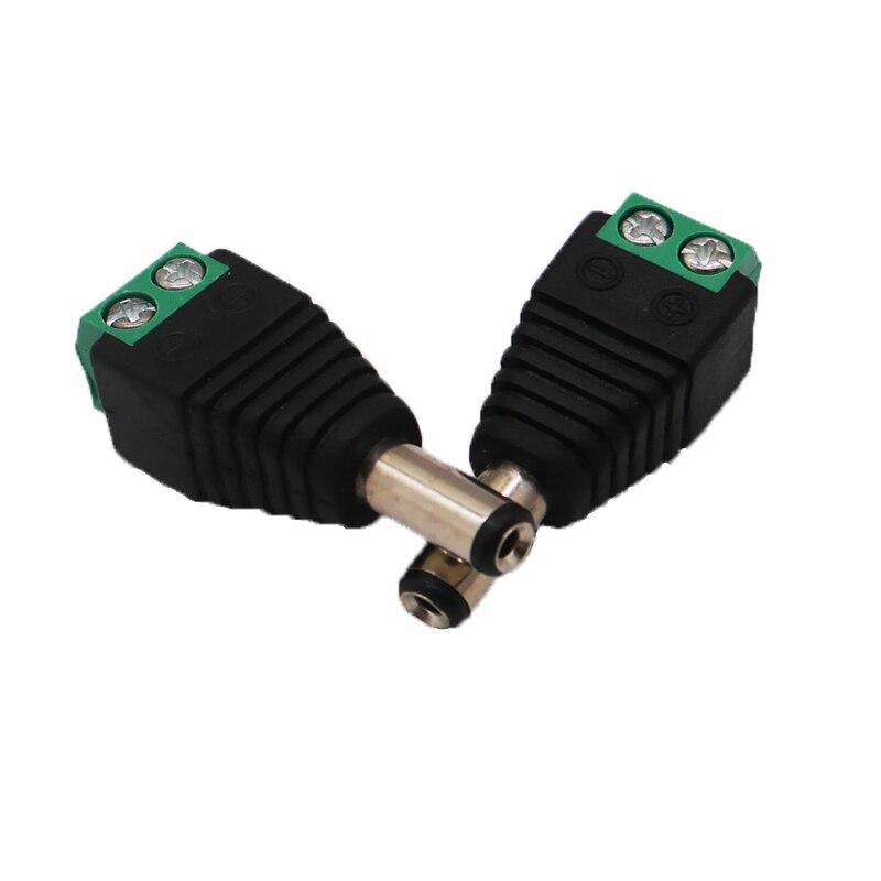Купить с кэшбэком Wholesale 100pcs/LOT DC Power Male Jack Connector Plug Adapter 5.5x2.1mm For CCTV Camera 2pin 5050 3528 Single Color LED Light