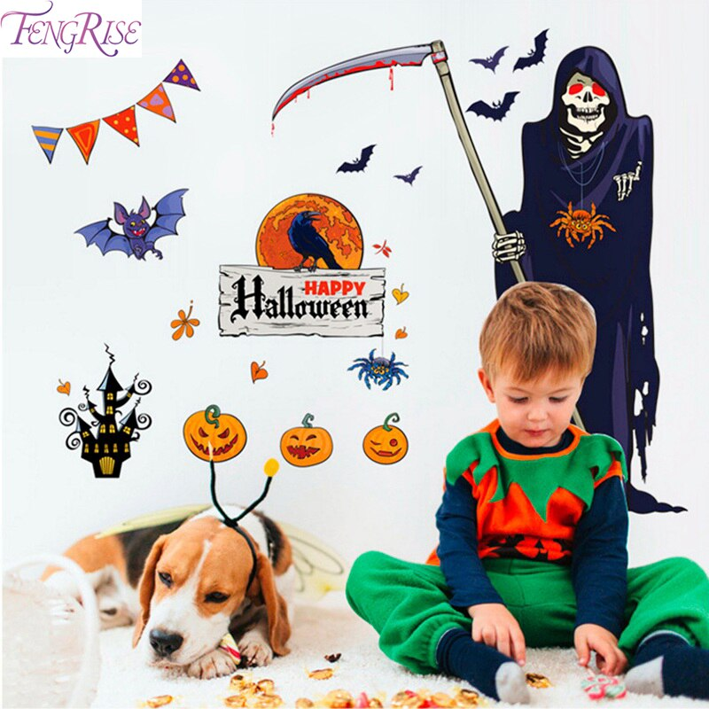FENGRISE Halloween Adesivo De Parede Mãos Sangrentas Horror Grim Reaper Halloween Party Decoração da abóbora de Halloween Decoração da Fonte Do Partido