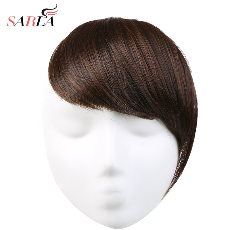 Flequillo de pelo de SARLA Clip en flequillo lateral falso flequillo extensiones de pelo sintético Natural pieza de pelo negro marrón B2