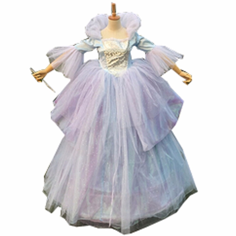 2018 Custom Made Adult Women Oneline Fairy Godmother Dress Wig Cosplay Long Blue Cinderella Fairy Godmother Costume