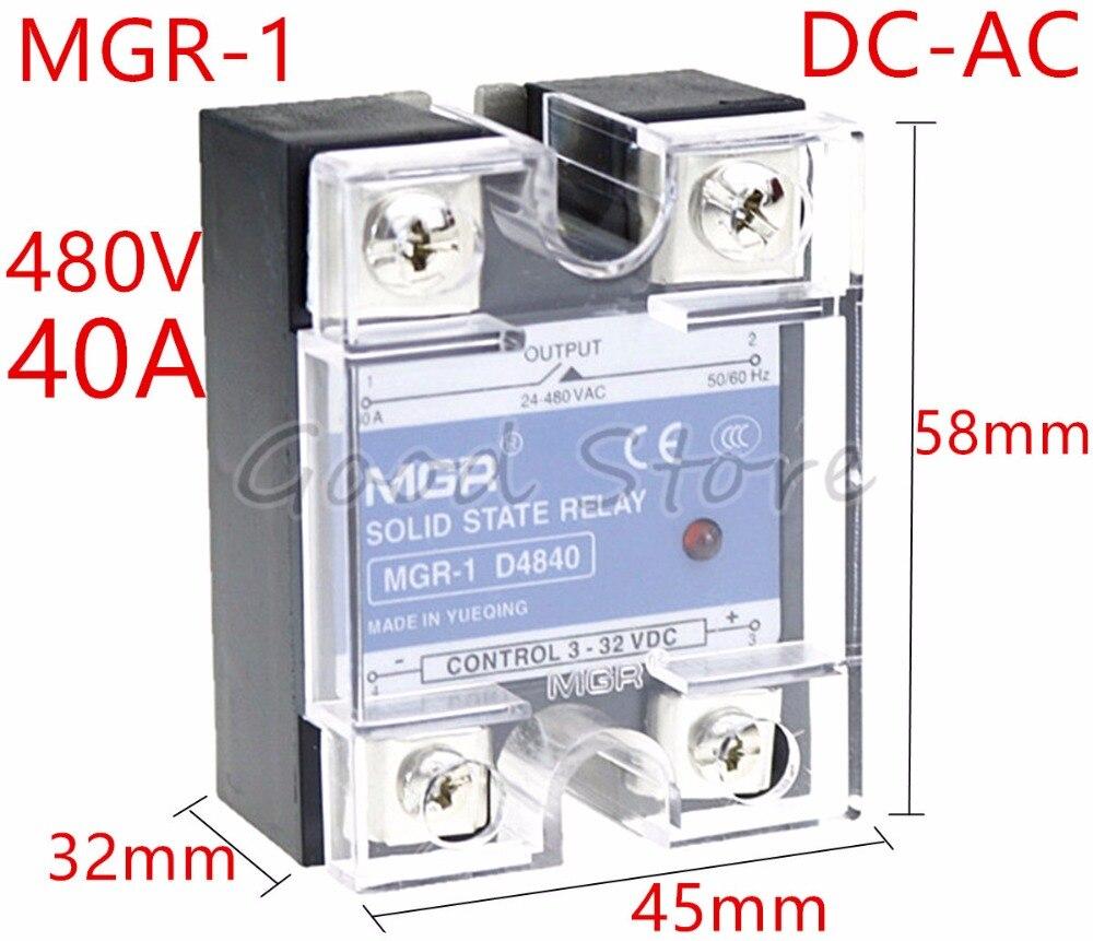 1 шт. SSR 40A MGR-1 D4840 напряжение нагрузки 24-480 В постоянного тока управление переменного тока Однофазное твердотельное реле